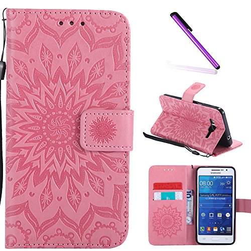 Galaxy Grand Prime Case,G530 Case,LEECOCO Fancy Embossed Floral Wallet Case with Card/Cash Slots PU Leather Flip Stand Case Cover for Samsung Galaxy Grand Prime LTE G530 Mandala Pink