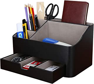 $39 » KINGFOM 5 Slot Pu Leather Pen and Pencil Desk Office Organizer, Cell Phone Remote Control Holder, Makeup Supplies Collection Box (Multi-Black)