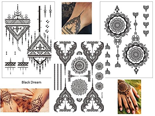 3 Bögen temporäre Henna Tattoos - Set Black Dream