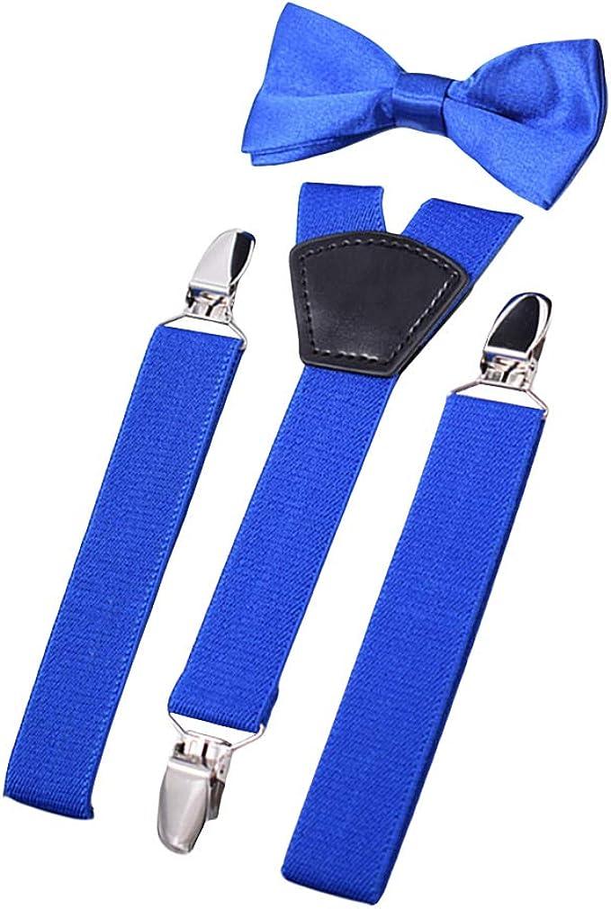 AYOSUSH Kids Suspenders with Bowties Set for Boys Y Shape 3 Clips Tuxedo Elastic