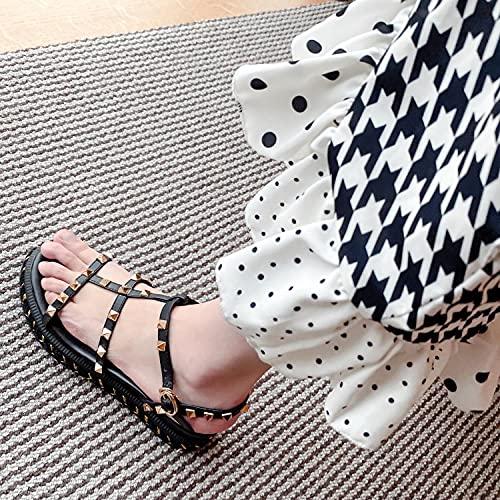 Sandalia Casual con Tiras,Sandalias de Cuero de Fondo Grueso, Sandalias de Punta Abierta de tacón Alto-Negro_39,Sandalias de Ducha