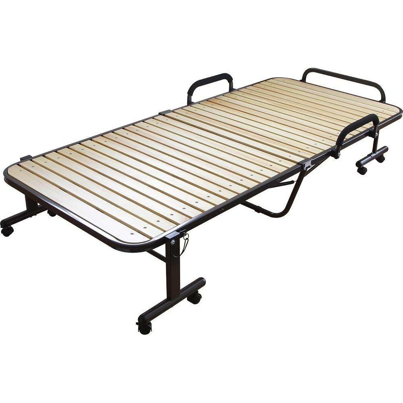 ミネラル仮定する銃アイリスオーヤマ ベッド 折りたたみベッド すのこベッド シングル 収納  ナチュラル OTB-WH