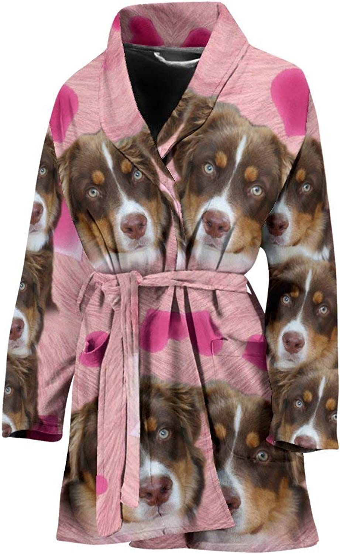Deruj Miniature American Shepherd Print Women's Bath Robe