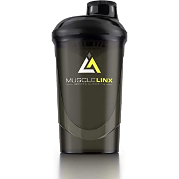 Musclelinx Sports Nutrition Protein shaker screw top 100% LEAK PROOF drinks bottle 600ml to 800ml by Musc (black/grey)