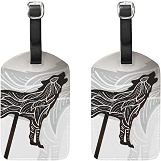 FAJRO Howling Wolf Shadow Puppet travel tags for suitcases Privacy Cover x2