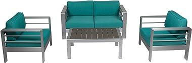 Kinsunny 4pcs Outdoor Patio Furniture Set Shore Aluminum Sectional Sofa Metal Conversation Set with Coffee Table