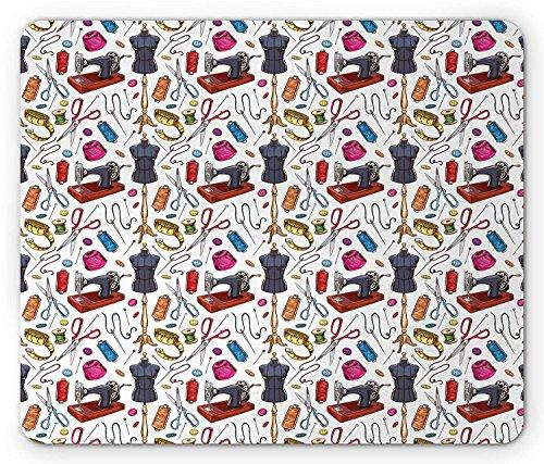 Mode muismat, patroon met Cartoon Tailoring Equipment als naaimachine draad en tape meting, standaard grootte rechthoek anti-slip rubber muismat, Multi kleuren