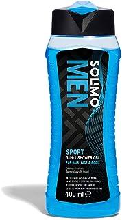Marca Amazon - Solimo Gel de ducha sport para hombre 3 en 1 (Cuerpo, cara y cabello)24 horas de frescor- 400 ml