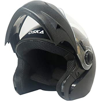 Steelbird SB-41 Oska Classic Flip Up Helmet Full Face Bike Riding Helmets For Man(600MM Large, Classic Black With Plain Visor - Geared With Flip Up Down Feature -Aerodynamics Design)