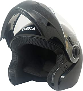 Steelbird SB-41 Oska Classic Flip Up Helmet Full Face Bike Riding Helmets For Man (620MM XLarge, Classic Black With Plain Visor- Geared With Flip Up Down Feature -Aerodynamics Design)