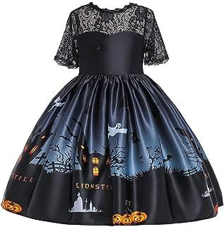 jin&Co Toddler Teen Kids Girls Short Sleeve Printed Party Dress Halloween Costume Pumpkin Princess Dress Up Outfits