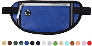 Money Belt Travel Wallet Passport Holder Waterproof Leather Sport Pockets Running Belt Waist Bag Fanny Pack Cellphone Belt Pouch Safe Secure Belt Messenger for Men and Women (Blue)