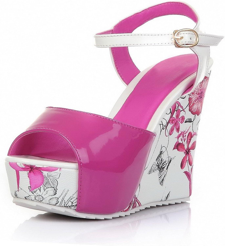 AmoonyFashion Women's Buckle High-Heels PU Assorted color Open-Toe Sandals