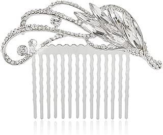 EVER FAITH Silver-Tone Rhinestone Crystal Art Deco Floral Wedding Hair Comb