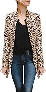Fiaya Womens Winter Warm Elegant Leopard Print Open Front Slim Long Cardigan Coat Outwear