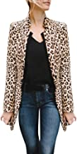 Corsion Women's Long Sleeves Leopard Print Coat Cardigan Open Front Thin Casual Sweater Outwear Coats with Pocket