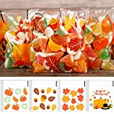 200 Pieces Thanksgiving Fall Cellophane Bags Pumpkins Maple Leaves Grocery Bags Goodie Treat Bag...