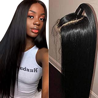 Muokass 4x4 Lace Front Wigs Straight Hair Brazilian Virgin Human Hair Lace Closure Wigs For Black Women 150% Density Pre Plucked With Elastic Bands Natural Color (18 inch, straight wig)