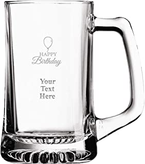 Custom Birthday Beer Glass Mug, 16 oz Personalized Happy Birthday Beer Mug Gift With Your Own Engraving Text