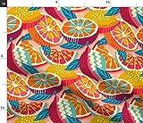 Spoonflower Stoff – Tagesrosa, lila, orange,