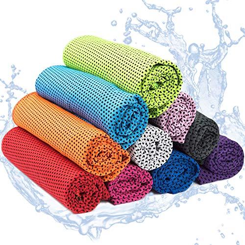Yisscen 10 Stück Kühlendes Handtuch, Cooling Towel,Mikrofaser Handtuch, Kühltücher, Strandtuch mit Kühlfunktion für Fitness Sport Yoga, Golf, Camping, Strand, Training, Reisen
