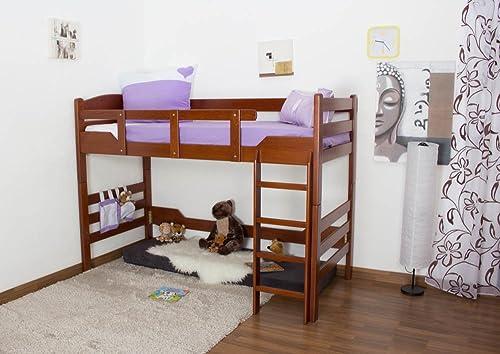 Kinderbett   Hochbett  Easy M l  K14 n, Buche Vollholz massiv Kirschfarben - Ma  90 x 190cm