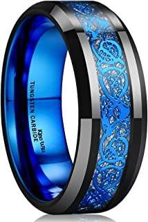 King Will Dragon Blue Celtic Tungsten Carbide/Tungsten Silicone Set Ring Mens Black Wedding Band Polished Comfort Fit