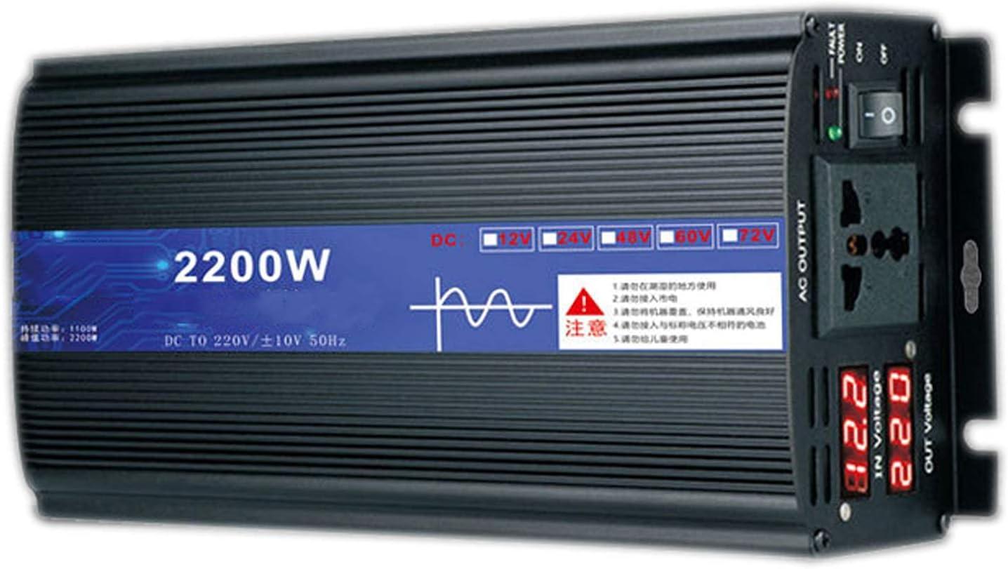 SGSG Inversor de energía de Onda sinusoidal Pura 2200W 3000W 4000W 5000W DC 12V / 24V a AC 220V Convertidor de Voltaje con Salidas de CA y Pantalla LED Inversor de energía Solar, para camión RV