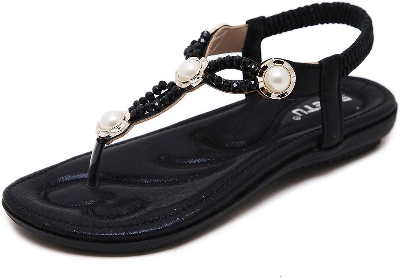 Mobnau Women's Stylish Jeweled Flip Flops Thong Sandals Flats