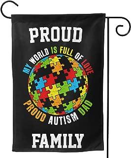 LILIBEEE Proud Autism Dad Puzzle World Awareness Double Sided Flag Garden Flag Yard Decoration Flag