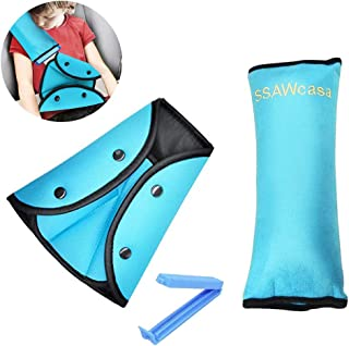 Seat Belt Pillow and Adjuster for Kids Travel,Soft Neck Support Headrest Seatbelt Pillow Cover with Clip & Seatbelt Adjuster for Child,Car Seat Strap Protector Cushion Pads for Short People (Blue)