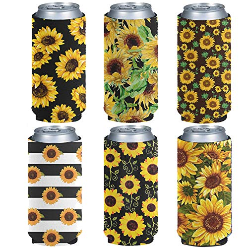 Aulaygo 6 Pack Durable Standard Beer Can Sleeves, Insulators Drink Cooler Covers Beer Holders for Bottles Cans Party Wedding Sports Event Family Picnic Use Yellow Sunflower Series