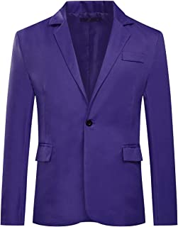 Mens Casual Suit Jackets Slim Fit Blazer One Button Suits Coat Solid Casual Jacket Tops