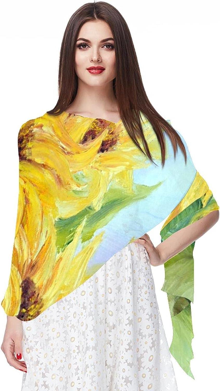 Painting Vintage Sunflowers Pattern Women Soft Chiffon Pashmina Shawl Wrap Scarf for Bridesmaid Wedding Formal Party Evening Dress
