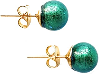 emerald Diana Ingram earrings with dark green round studs on surgical steel posts Murano glass sphere