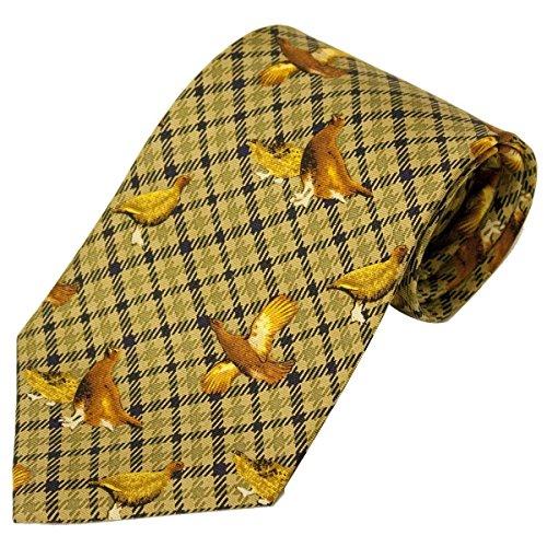 Bisley Grouse Green 100% Silk Tie - Shooting and hunting - Handmade