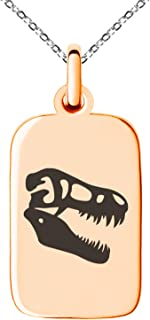 Stainless Steel Tyrannosaurus Rex Fossil Small Rectangle Dog Tag Charm Pendant Necklace