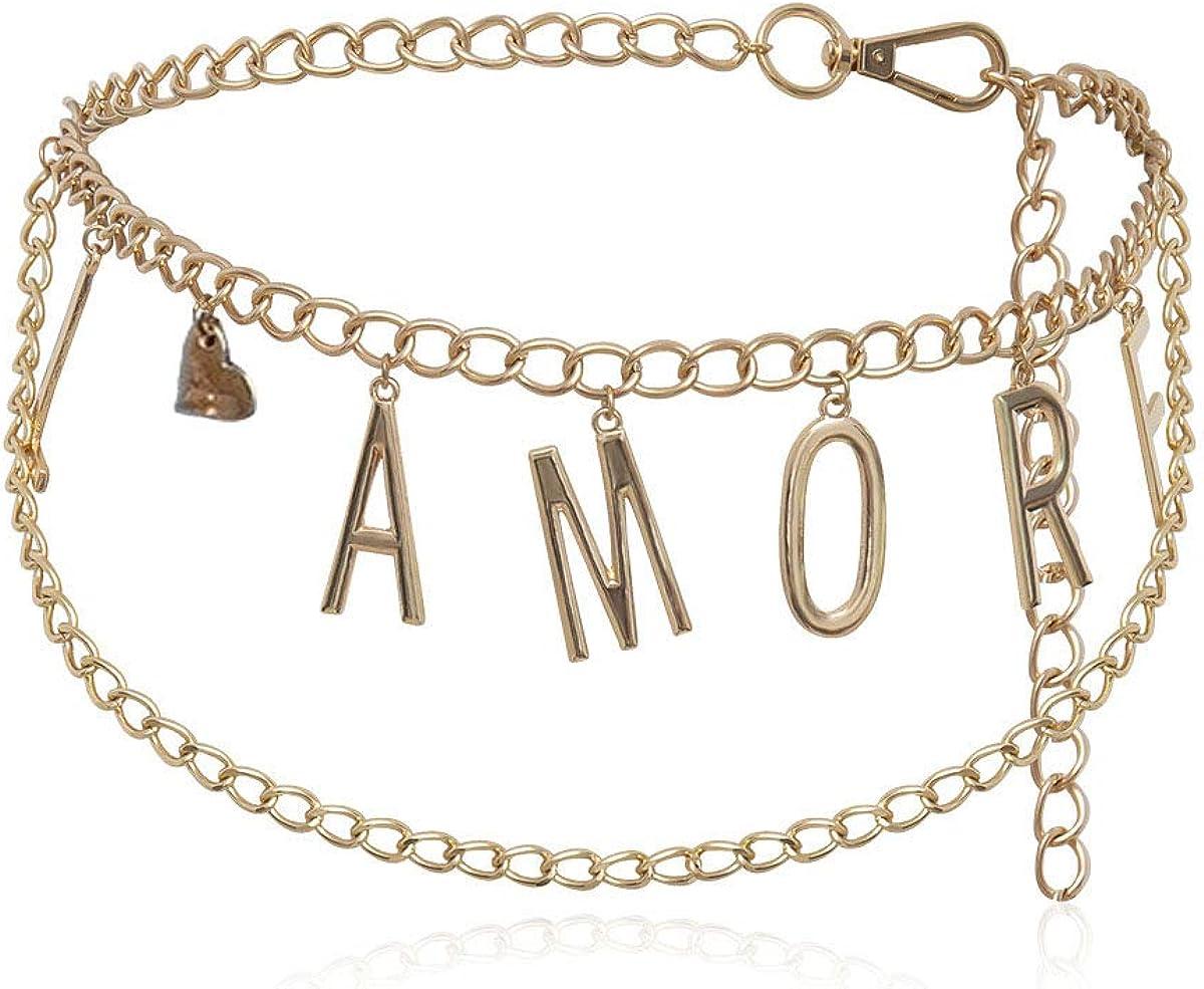 Sinkcangwu Vintage India Metal Belly Waist Chain Dress Accessories Creative Gypsy Crystal LAMORE Letter Belt Body Jewelry for Women Gir Gift