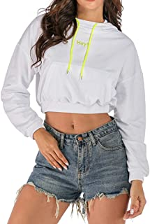 Xuways Fashion Winter White Crop Tops Hey Print Yellow Long Sleeve Pocket Hoodie Tunic Pullover Shirt Blouse
