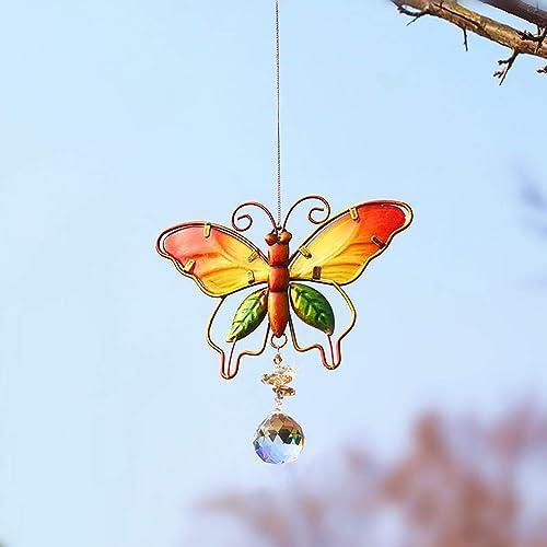 discount Clear Cut Crystal Ball Sun Catcher Butterfly Suncatchers for Windows Crystals Ornament Sun Catcher Prisms popular Chandelier Metal Garden Decor Home 2021 Garden Office Decoration Hanging Pendant online