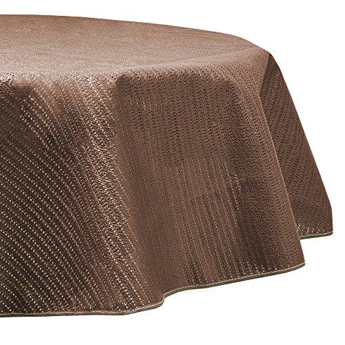 Beautissu PVC Mantel Mesa jardín Redondo Lena Ø160 cm Marrón Impermeable Resistente al Mal Tiempo, balcón y Camping
