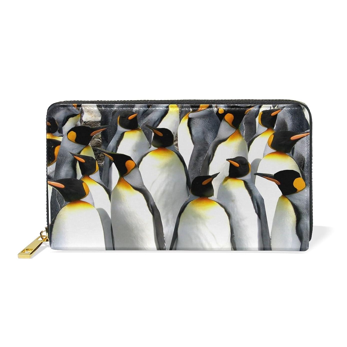 分類かんたん援助するAOMOKI 財布 長財布 本革 大容量 ラウンドファスナー ペンギン
