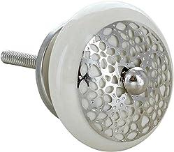 G Decor Zilveren Applique Ronde Nest Keramische Deur Knoppen (Crème)