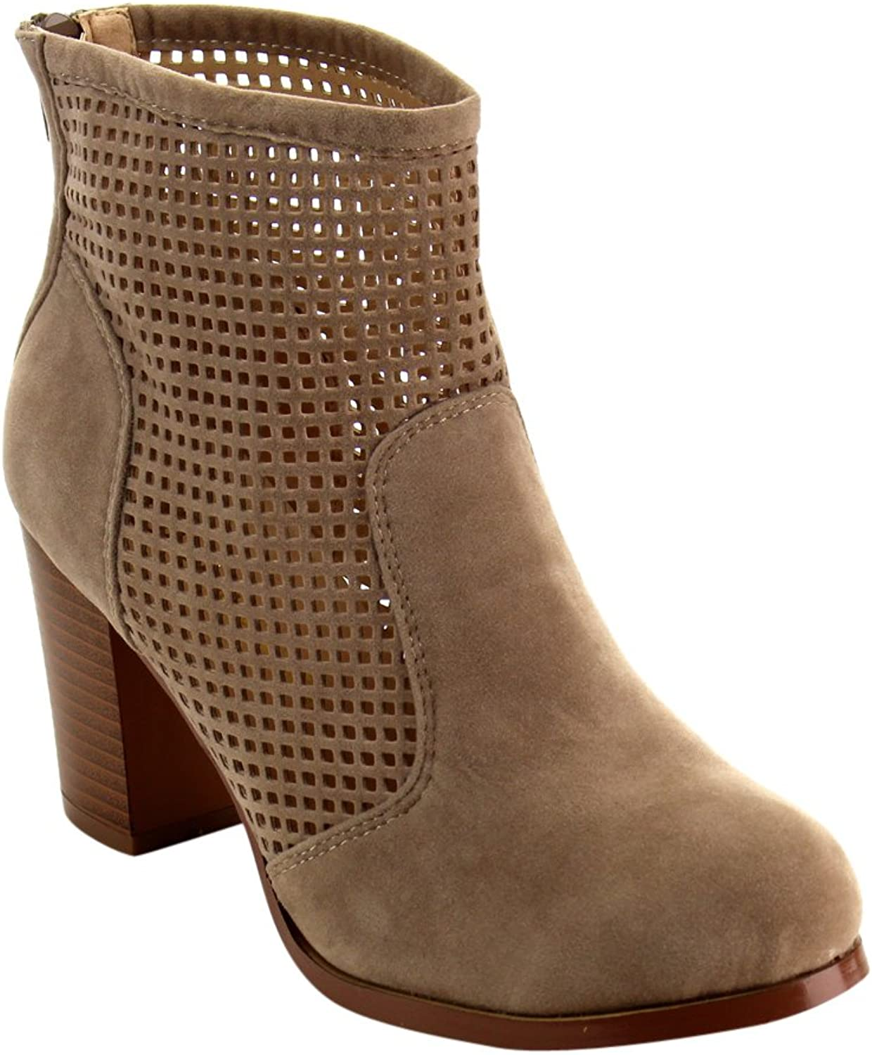 Chase & Chloe EC48 Women's Laser Cut Out Back Zipper Mid Stacked Ankle Booties
