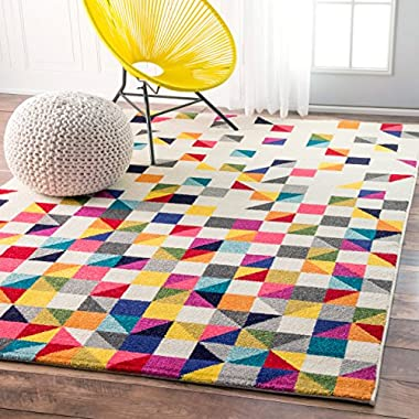Contemporary Geometic Triangle Mosaic Multi Area Rugs, 4 Feet 1 Inch by 6 Feet (4' 1  x 6')
