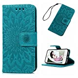 MOLLYCOOCLE iPhone SE 5S 5 Case, Wallet Case Embossed Sunflower Blue PU Leather...