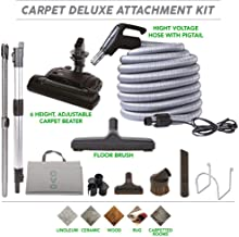 Central Vacuum Carpet Attachment Kit With Adjustable Height Electric Carpet Head - Brush Set Including 40ft Central Vac Dual Votage Switch Control Hose, Black & Grey - KIT-HV40CD-OVO