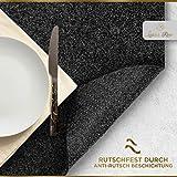 Luana Rose Platzsets aus Filz 12er Set in Anthrazit - Tischset abwischbar - 44x32 cm Filzuntersetzer - Hochwertige Platzdeckchen abwaschbar in Grau - Tischuntersetzer Platzset + Glas Untersetzer-Set - 2