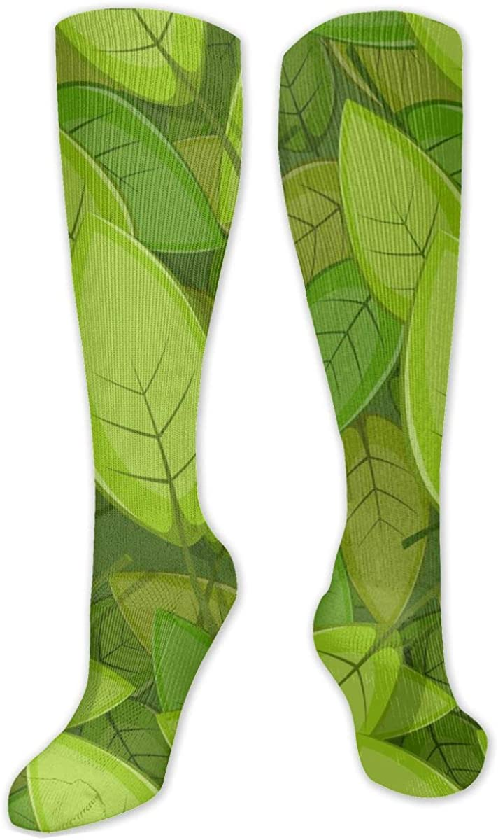 Seamless Green Spring Leaves Knee High Socks Leg Warmer Dresses Long Boot Stockings For Womens Cosplay Daily Wear