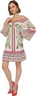 Umgee Women's Floral Scarf Print Off The Shoulder Dress